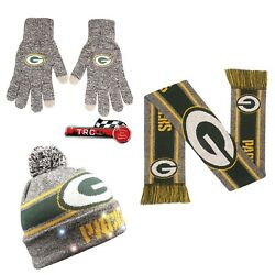 Green Bay Packers Foco Nfl Light Up Beanie/scarf/texting Gloves Set Free Ship