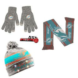 Miami Dolphins Foco Nfl Light Up Beanie/scarf/texting Gloves Set Free Ship
