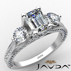 3stone Emerald Diamond Engagement Ring Gia Certified J Color And Vvs1 Clarity 2ctw