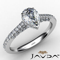 Pear Diamond Engagement Pave Ring Gia Certified H Color And Vs2 Clarity 1.06 Ctw