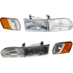 Set Of 4 Headlights Lamps Left-and-right Lh And Rh For Ford Taurus 1992-1995