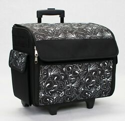 Sewing Machine Organizer Storage Cover Case Home Travel Tote on Wheels Blk White $85.79