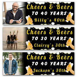 2 Personalised Birthday Banner Photo Beer Cheer Adult Fun Party Poster Bubble