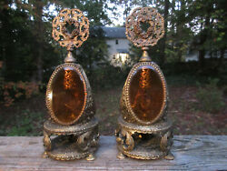 Antique French Ormolu Perfume Bottles Large Victorian Brass And Amber Glass 3sides