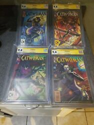 Catwoman 1 - 2 - 3 And 4 Cgc 9.6 And 9.4 Ss - Signed And Sketch By Jim Balent