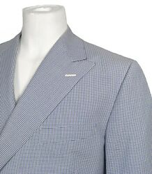 New Hickey Freeman Sportcoat Blazer 42 Reg Gingham Double Breasted Usa Made