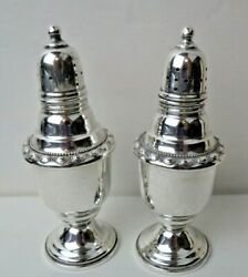 La Pierre Sterling Silver Salt And Pepper Shakers 25a C1900 Raised Floral Design