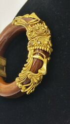 Ak Paris Rare Vintage Wood And Brass Bracelet With King And Queen Faces