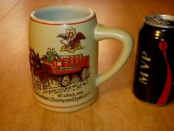 [budweiser Beer] 3-d Clydesdale Horses And Beer Wagon, Ceramic Mug/ Stein, 1970's