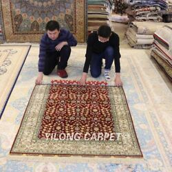 Yilong 4'x6' Flower Handmade Carpet Red All Over Hand Knotted Silk Area Rug 199a