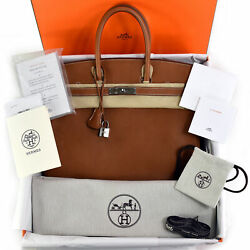 NEW Full Set 2019 HERMES Birkin 35 Barenia Faubourg Leather Palladium Silver PHW