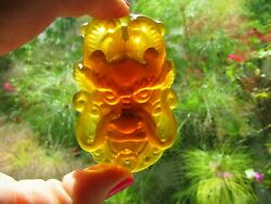 Antique Asian Chinese Amber Color Glass Mask Pendant Amulet
