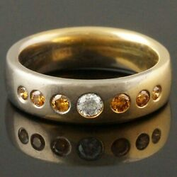 Christian Bauer Two Tone Solid 18k Gold And Diamond, Wedding Band Estate Ring