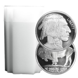 Lot of 20 1 Troy oz Buffalo .999 Fine Silver Round Full Roll