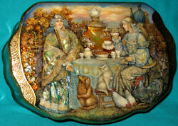 Uniquetea Party Russian Hand Painted Fedoskino Lacquer Box Golden Pattern