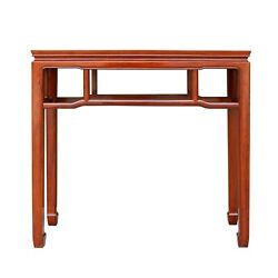 Chinese Huali Rosewood Light Brown Straight Apron Side Altar Table Ws469