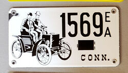 1950 S Connecticut Heavy Porcelain Early Auto License Plate 1569