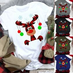women Christmas Shirts Lady Cute Reindeer Pattern T-shirt Top Fashion Graphic T