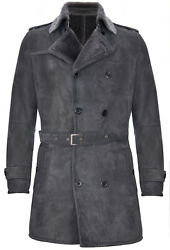 Menand039s Grey German Military Double Breasted Real Sheepskin Suede Leather Pea Coat
