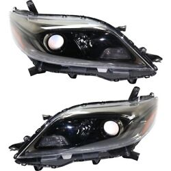 Headlight For 2015-2019 Toyota Sienna Driver And Passenger Side Pair Capa