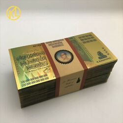 100 Pcs Zimbabwe Z100 Decillion Dollars Gold Color Banknote For Nice Gift