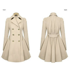 Womens Double Breasted Trench Coat OL Work Blazer Suit Overcoat Jacket Dress Top