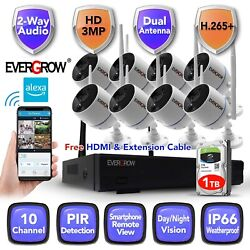 Wireless 2 Way Audio Home Security 3mp 1296p Cctv Camera Outdoor System Dvr Kit