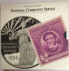 1996-s National Community Service Commemorative Coin And Stamp Set In Ogp