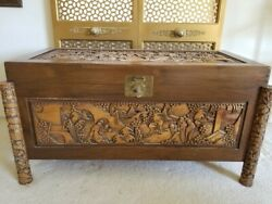 Beautiful Wood Hand Carved Indian Chest Exquisitely Crafted By A Master Artist.