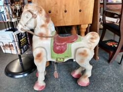 Vintage Antique Mobo Bronco Ride On Toy Rolls Moves Metal Horse Made In England