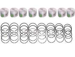 8 Coated Pistons With Rings 1959-1965 Pontiac 389 V8 59 60 61 62 63 64 65