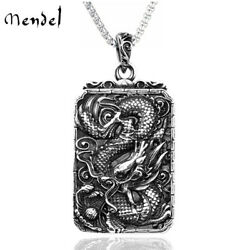 Mendel Mens Chinese Character Zodiac Dragon Pendant Necklace Stainless Steel Men