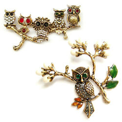Brooch Owl Tree Branch Leaves Bronze Gold Green Crystal Pearl Retro Pin Gift Box