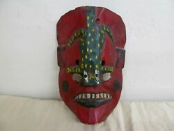 Hand Carved Vintage Guatemala Black, Red, Green Dance Mask With Lizard Wood
