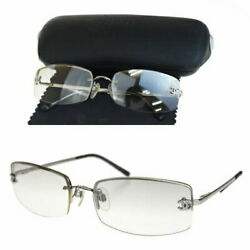 CHANEL SUNGLASSES HERE MARK RHINESTONE SILVER-GRAY METAL CASE GLASSES WITH WIPE
