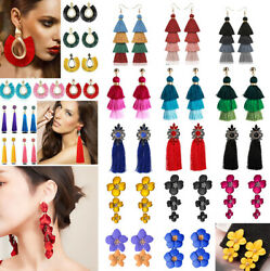 Women Bohemian Earrings Long Tassel Fringe Boho Dangle Earring Jewelry Gifts