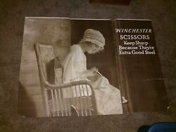 Winchester Store Advertising Sign Original 1920and039s Display Scissors 2-sided Panel