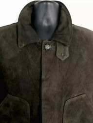 Polo Goat Suede Leather Military Field Jacket Brown Mens Size Large