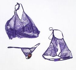 Designer Brand Women's Purple Size Large L Floral Lace Sexy Set $38 #202