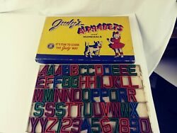 Vintage Judys Toys Alaphabet Wooden Letters And Numbers 60 Pieces Set 1946