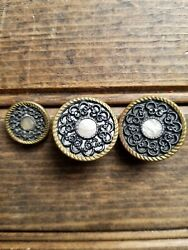 Rare Set Of 3 Vintage Brass Buttons W/mother Of Pearl/shell