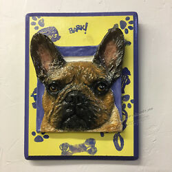 French Bulldog Ceramic bas-relief dog Tile Mounted on Painted wood Alexander Art