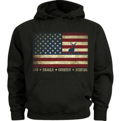 American Flag Hunter Deer Hunting Gifts Hoodie Graphic Sweatshirt for Men