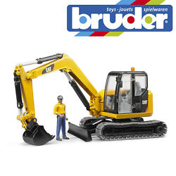 Bruder Cat Mini Excavator Digger And Construction Worker Kids Toy Model Scale 116