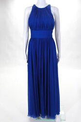 Badgley Mischka Collection Womens Blue Corundum Sapphire Gown $790 Size 0 105756