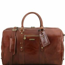 Tl Voyager Leather Travel Bag With Front Pocket Made In Italy For Real Travelers