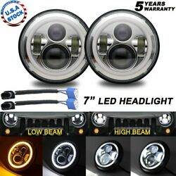 2x 200w 7 Inch Led Halo Ring Projector Headlights Dot For Chevy G10 G20 G30 C10