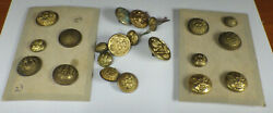 21 Pc Lot Us Military Buttons Civil War Thru Wwii Brass 2 Sets On Cards