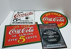 Lot Of 4 Coca-cola Tin Signs Vintage Style Reproduction