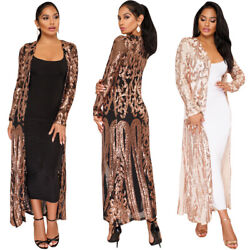 Women Sequins Vintage Coats Open Stitch Jackets Long Sleeve Slim X long Trench